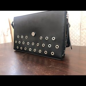 Black Studded Envelope Clutch
